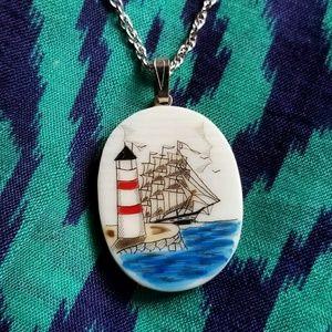 Vintage lighthouse necklace scrimshaw 925 silver
